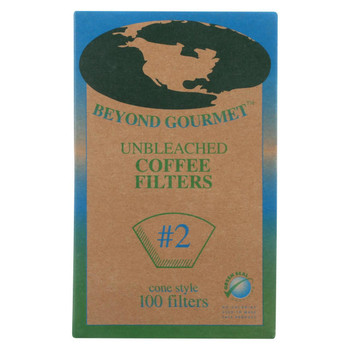 Beyond Gourmet Coffee Filters - Cone - Unbleached - Number 2 - 100 Count
