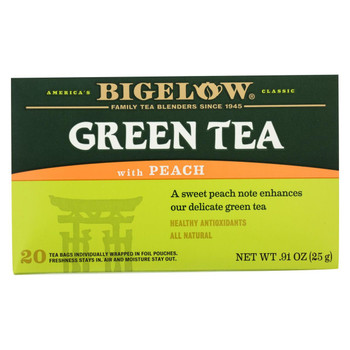 Bigelow Tea Green Tea - with Peach - Case of 6 - 20 BAG