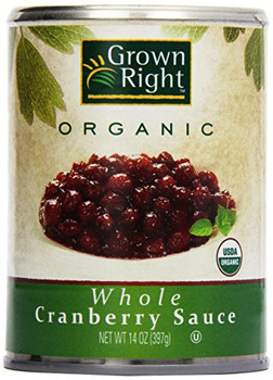 Grown Right Organic Sauce - Whole Cranberry - Case of 24 - 14 oz.
