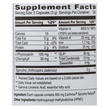Earthrise Spirulina Natural - 600 mg - 150 Capsules