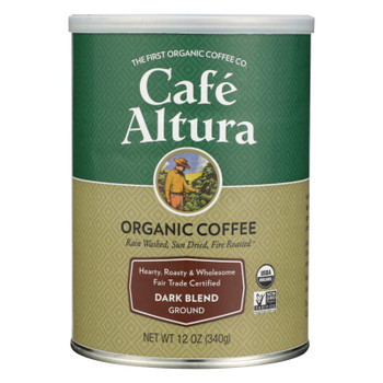 Cafe Altura - 100% Organic Fair Trade Dark Blend Coffee - Case of 6 - 12 oz
