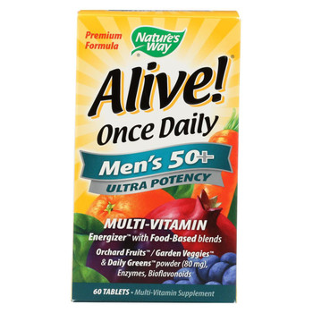 Nature's Way - Alive! Once Daily Men's Multi-Vitamin - 50 plus - 60 Tablets