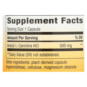 Nature's Way - Acetyl L-Carnitine - 500 mg - 60 Vegetarian Capsules