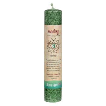 """Aloha Bay - Chakra Pillar Candle - Green - 8"""""""
