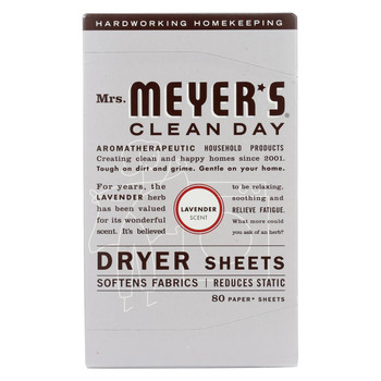 Mrs. Meyer's Clean Day - Dryer Sheets - Lavender - Case of 12 - 80 Sheets