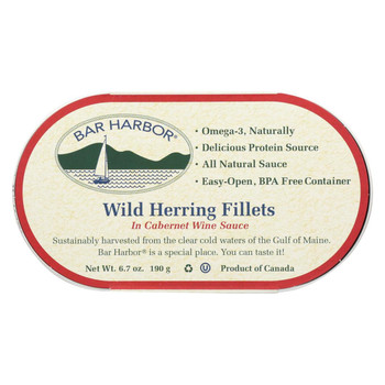 Bar Harbor - All Natural Wild Herring Fillets - Cabernet Wine Sauce - Case of 12 - 7 oz.