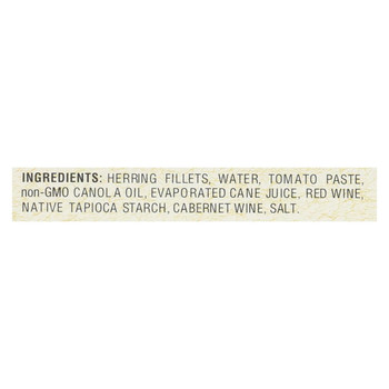 Bar Harbor - All Natural Wild Herring Fillets - Cabernet Wine Sauce - Case of 12 - 7 oz.