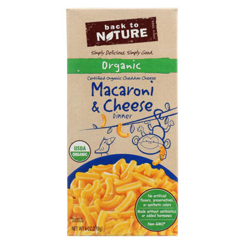 Back To Nature Organic Macaroni and Cheddar Cheese Dinner - Case of 12 - 6 oz.