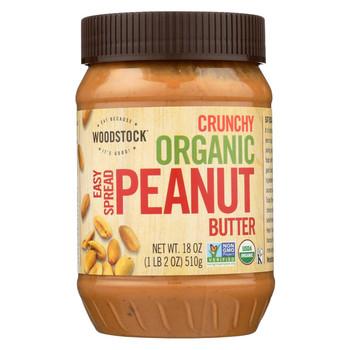 Woodstock Organic Easy Spread Peanut Butter - Crunchy - Case of 12 - 18 oz.