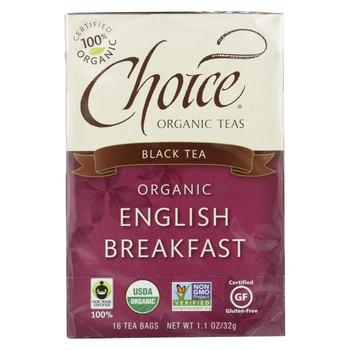 Choice Organic Teas English Breakfast Tea - 16 Tea Bags - Case of 6