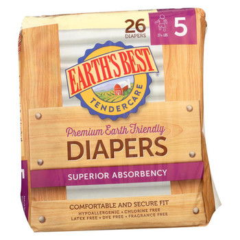 Earth's Best Tender care Chlorine Free Diapers - Size 5 - Case of 4 - 26 Count