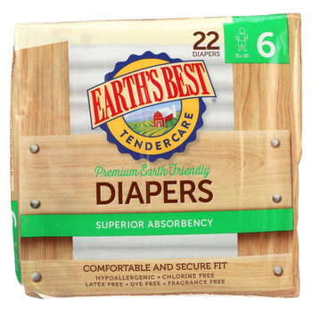 Earth'S Best Chlorine-Free Diapers - Size 6 - Case of 4 - 22 Count