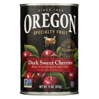 Oregon Fruit Whole Pitted Dark Sweet Cherries In Heavy Syrup - Case of 8 - 15 oz.