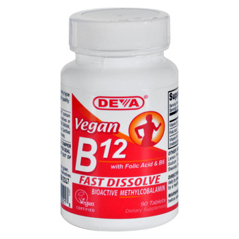 Deva Vegan Vitamins - B12 Sublingual - 90 Sublingual Tablets