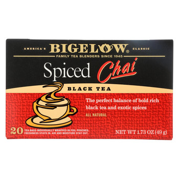 Bigelow Tea Black Tea - Spiced Chai - Case of 6 - 20 BAG