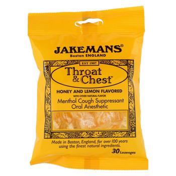 Jakemans Throat and Chest Lozenges - Honey and Lemon - Case of 12 - 30 Pack
