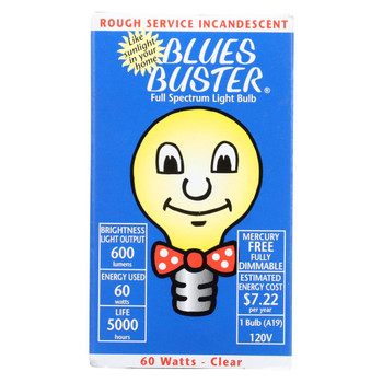 Blues Buster Light Bulb - Full Spectrum - Clear - 60 Watt Bulb - 1 Count