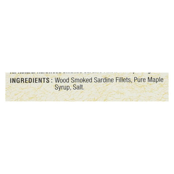 Bar Harbor Skinless Boneless Smoked Sardine Fillets - Maple Syrup - Case of 12 - 6.7 oz.