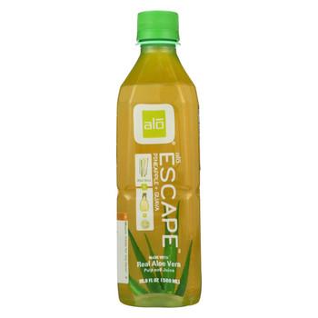 Alo Original Escape Aloe Vera Juice Drink - Pineapple and Guava - Case of 12 - 16.9 fl oz.