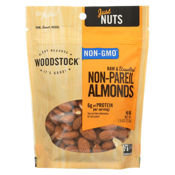 Woodstock Almonds - Raw - Case of 8 - 7.5 oz.