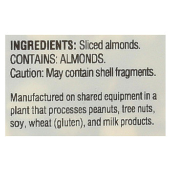 Woodstock Non-GMO Thick Sliced Almonds, Unsalted - Case of 8 - 7.5 OZ