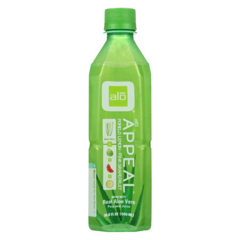 Alo Original Appeal Aloe Vera Juice Drink - Pomelo Lemon and Pink Grapefruit - Case of 12 - 16.9 fl oz.
