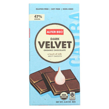 Alter Eco Americas Organic Chocolate Bar - Dark Velvet - 2.82 oz Bars - Case of 12