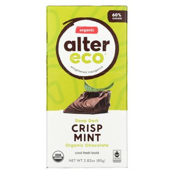 Alter Eco Americas Organic Chocolate Bar - Dark Mint - 2.82 oz Bars - Case of 12