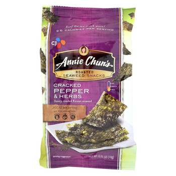 Annie Chun's Seaweed Snacks Cracked Pepper and Herbs - Case of 12 - .35 Oz