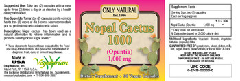 Only Natural Nopal Cactus 1000 - 1000 mg - 90 Veggie Capsules