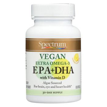 Spectrum Essentials Vegan Ultra Omega - 3 EPA and DHA Capsules - 60 Soft Gels