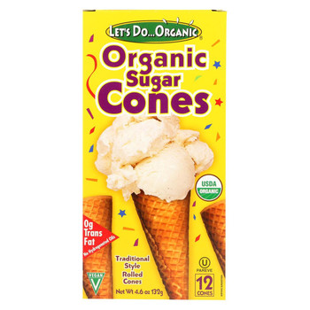 Let's Do Organics Ice Cream Cones - Sugar - Case of 12 - 4.6 oz.