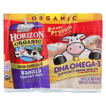 Horizon Organic Dairy Organic Low Fat 1 % Milk - Vanilla - Case of 3 - 6/8 fl oz
