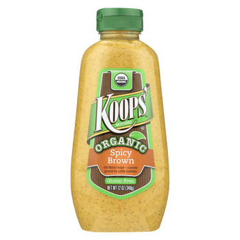 Koops' Organic Mustard: Spicy Brown Gluten Free - Case of 12 - 12 oz