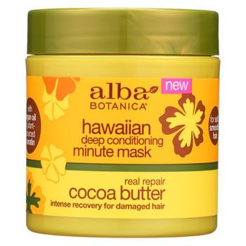 Alba Botanica Deep Conditioning Minute Mask - Hawaiian - Real Repair Cocoa Butter - 5.5 oz