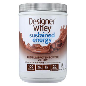 Designer Whey Protein Powder - Sustained Energy - Chocolate Velvet - 1.5 lb