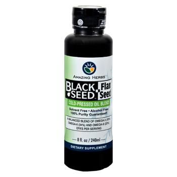 Amazing Herbs Black Seed Oil Blend - Flax Seed Oil - 8 oz
