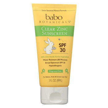 Babo Botanicals Sunscreen - Clear Zinc Unscented SPF 30 - 3 oz