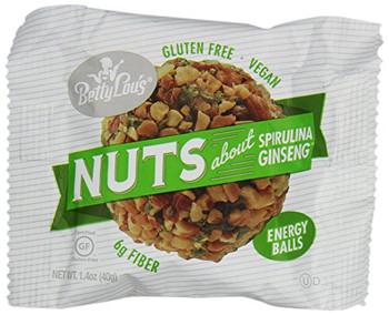 Betty Lou's Nut Butter Balls - Spirulina Ginseng - 1.4 oz - 12 ct