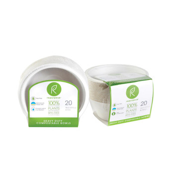 Repurpose Plant Based Bagasse Bowls - Case of 12 - 20 Count