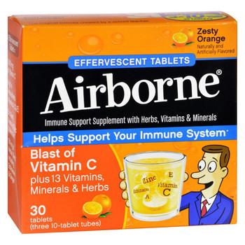 Airborne Effervescent Tablets Vitamn C - Zesty Orange - 10 Tablets - 3 Pack