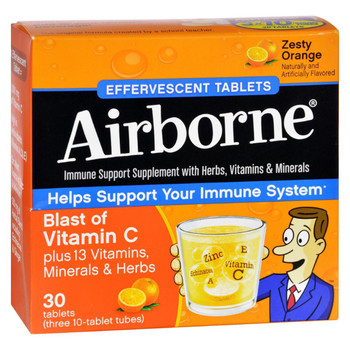 Airborne - Effervescent Tablets Vitamn C - Zesty Orange - 10 Tablets - 3 Pack