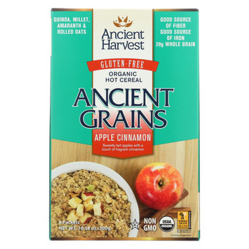 Ancient Harvest Hot Cereal - Apple Cinnamon - Case of 8 - 10.58 oz.