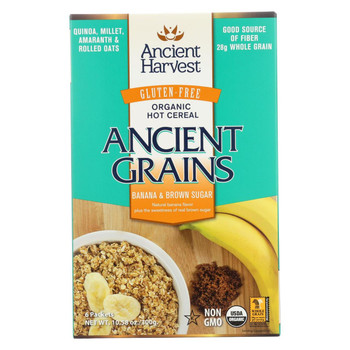 Ancient Harvest Hot Cereal - Banana and Brown Sugag - Case of 8 - 10.58 oz.