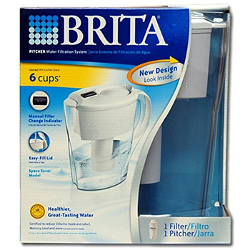 Brita - Space Saver Pitcher - White - Case of 2 - 1 Count