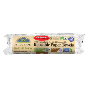 If You Care Paper Towels - Reusable - Nat - Case of 8 - 12 count