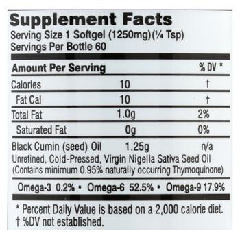 Black Seed Oil - 1250 mg - 60 Softgel Capsules