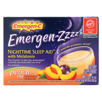 Emergen-C Emergen Zzzz - Nighttime Sleep Aid - Melatonin - Peach PM - 24 Packets