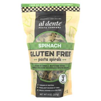 Al Dente Gluten Free Pasta Spirals - Spinach - Case of 6 - 8 oz.