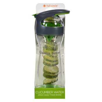 Full Circle Home Cucumber Water Bottle - Travel - Glass - Wherever Water - Gray - 20 oz